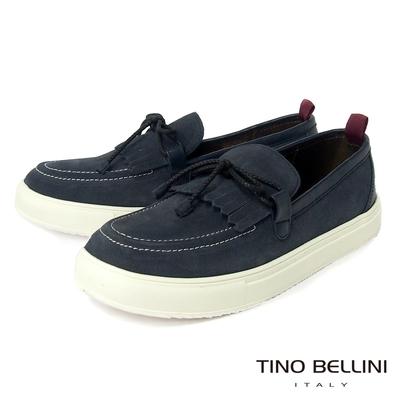 TINO BELLINI 男款 牛皮流蘇造型繫帶休閒鞋-藍