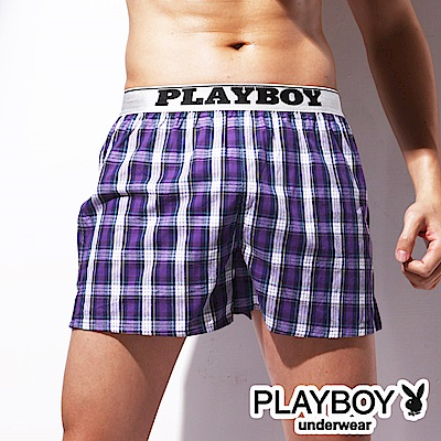 PLAYBOY LOGO織帶精梳棉開檔四角褲 大尺碼-單件