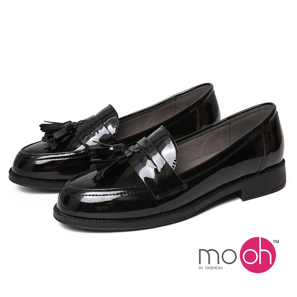 mo.oh-復古漆皮兩穿流蘇樂福鞋-黑色