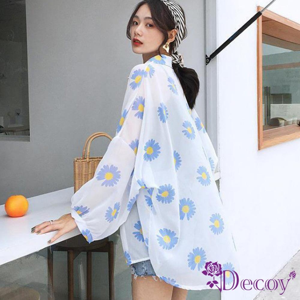 Decoy 日式雛菊 透膚寬鬆防曬輕薄罩衫外套 藍
