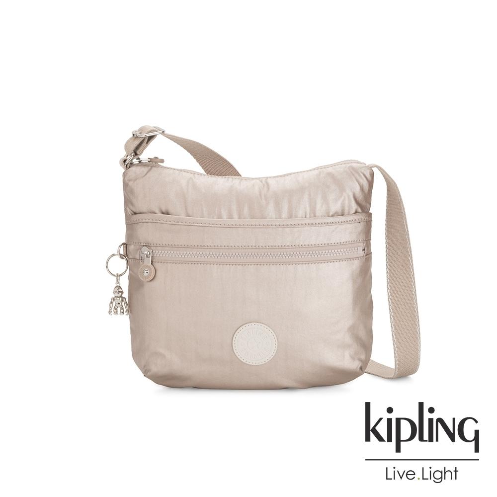 Kipling 都會時尚霧玫瑰金前拉鍊側背包-ARTO