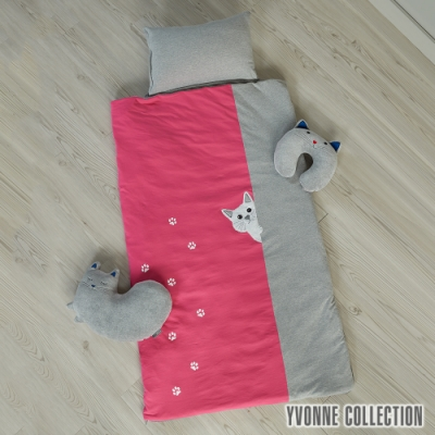 YVONNE COLLECTION 貓咪兩用兒童睡袋-桃粉