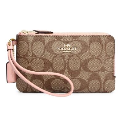 COACH 馬車LOGO 滿版PVC皮革L型雙層拉鍊手拿包-卡其/淺粉色