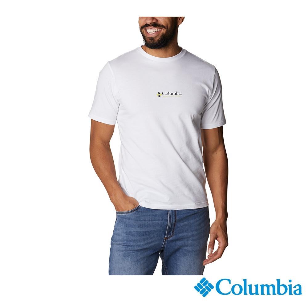 Columbia 哥倫比亞 男款- LOGO棉短袖上衣-2色 UJO15860 (白色)