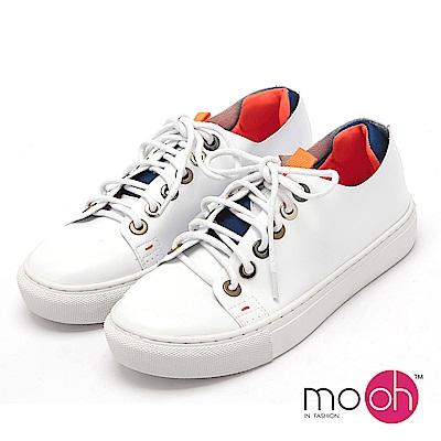 mo.oh-.真皮休閒拚色小白鞋-白橘色