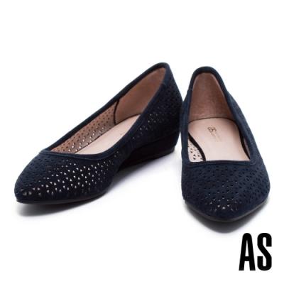 低跟鞋 AS 經典時尚幾何沖孔羊麂皮尖頭楔型低跟鞋-藍