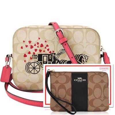 COACH 蜜桃粉色馬車大C PVC方形斜背相機包+咖啡黑色大C PVC手拿包