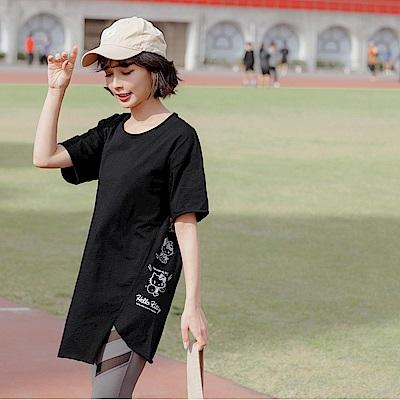 台灣製純棉側開衩長版上衣-OB大尺碼