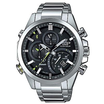EDIFICE智者前衛科技太陽能藍牙傳輸賽車錶(EQB-501D-1A)黑面x銀48.1m