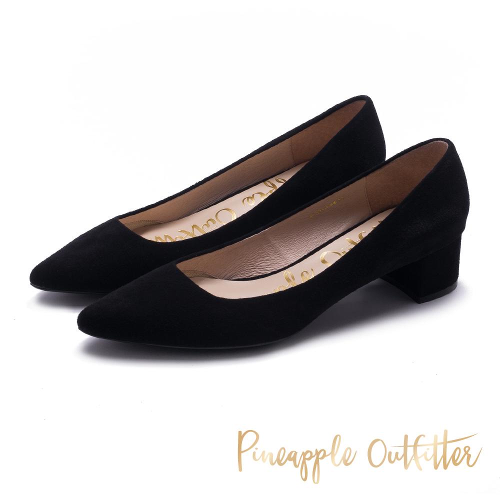 Pineapple Outfitter 時髦舒適感 麂皮尖頭粗跟鞋-絨黑