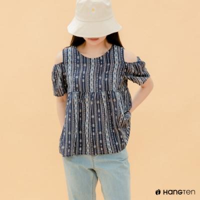 Hang Ten- 青少童裝-全棉舒適襯衫-深藍
