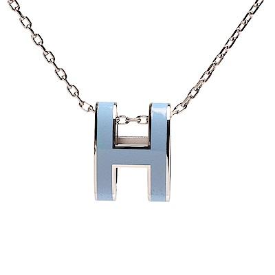 HERMES 經典Pop H立體簍空橢圓LOGO項鍊(銀X粉藍)