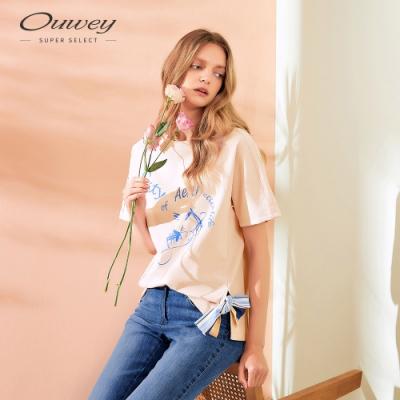 OUWEY歐薇 字母珍珠可拆式蝴蝶結上衣(可)