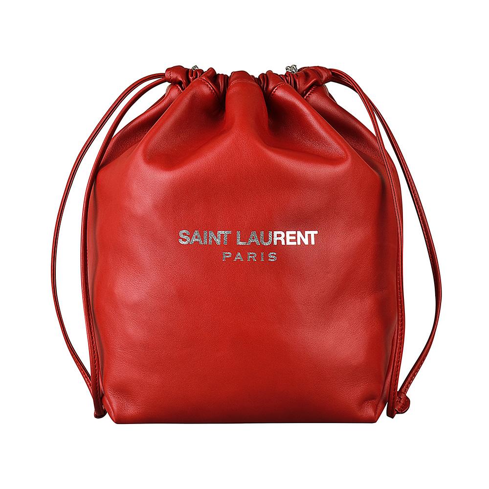 YSL SAINT LAURENT TEDDY經典燙銀LOGO羊皮束口肩背包(紅)
