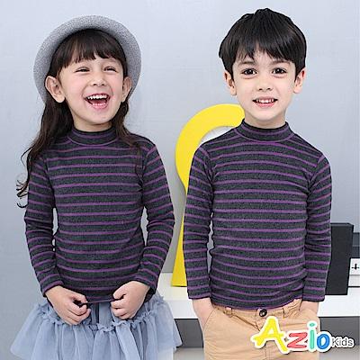 Azio Kids 上衣 磨毛條紋長袖保暖衣(葡萄紫)