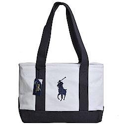 POLO Ralph Lauren 經典大馬LOGO圖騰刺繡中型肩背托特包(白/海軍藍底)