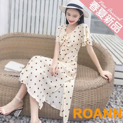 方領抽繩蝴蝶結點點點短袖洋裝 (花色)-ROANN