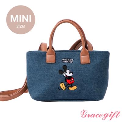 Disney collection by grace gift–唐葳設計迪士尼米奇2WAY帆布包Mini 牛仔
