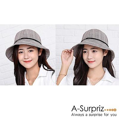 A-Surpriz 細格紋皮繩鍊條漁夫帽(卡其灰)