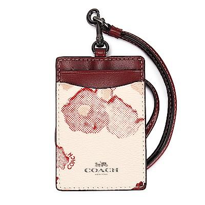 COACH 渲染花卉圖案防刮皮革掛式證件夾-紅/白色