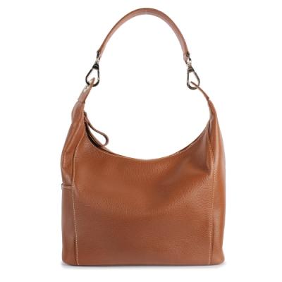 Longchamp Le Foulonne荔枝紋牛皮手提/肩背包-棕色