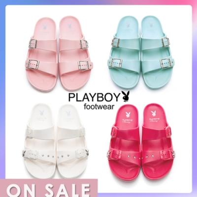 【時時樂限定】PLAYBOY簡約雙帶輕盈休閒拖鞋-4色任選
