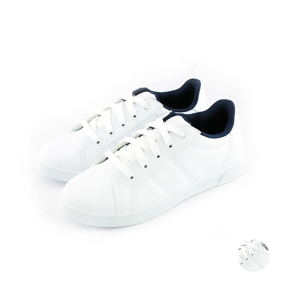 ARRIBA艾樂跑女鞋-素色皮質休閒鞋-白藍/全白(AB8072)
