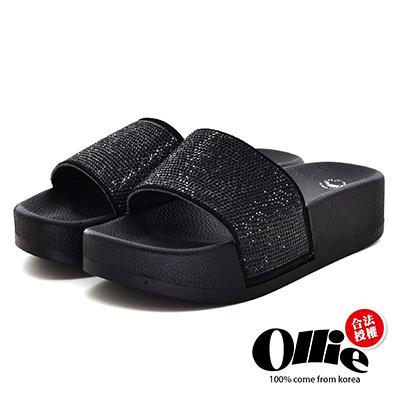 Aviator韓國空運-Ollie連線亮鑽寬帶厚底涼鞋-黑