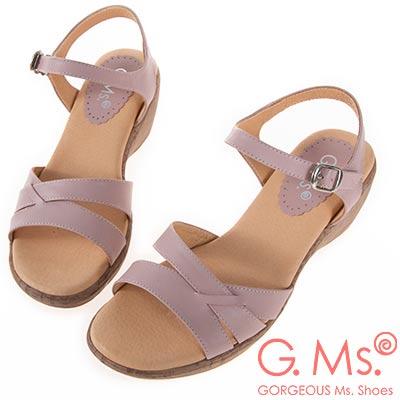 G.Ms. MIT系列-牛皮楔型坡跟涼鞋-粉色
