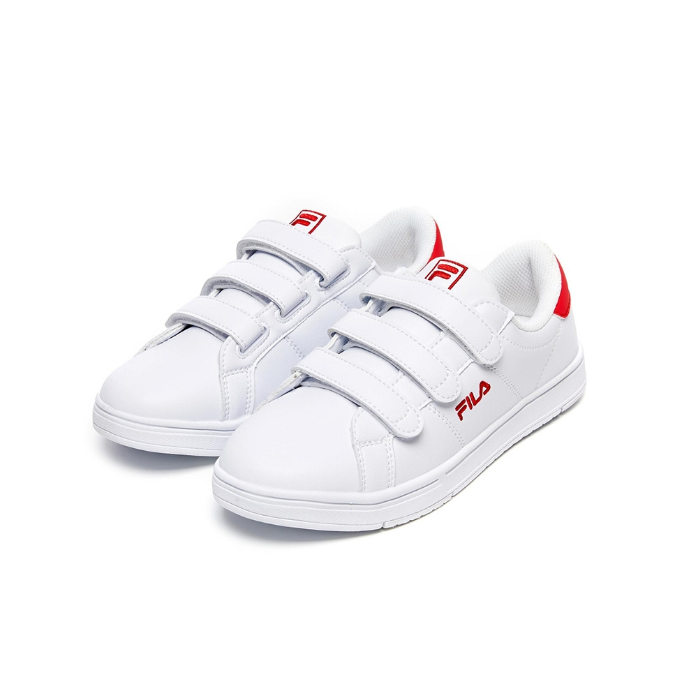 FILA 女魔鬼氈板鞋運動鞋-白/紅色 5-C618V-122