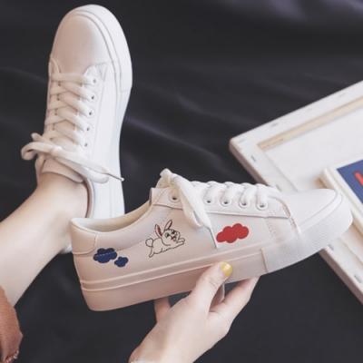 韓國KW美鞋館 俐落美感印花小白鞋-白