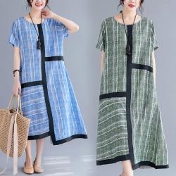 韓版不規則拼接文藝範中長款短袖連衣裙L-XL(共二色)Keer