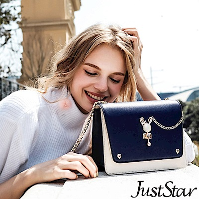 Just Star 夢幻兔鎖釦撞色鍊帶包 香草藍