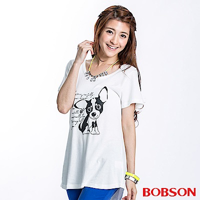 BOBSON 女款小狗印圖長版上衣(米白22118-81)