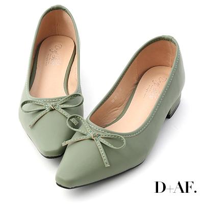 D+AF 春日繽紛.蝴蝶結尖頭低跟娃娃鞋*綠
