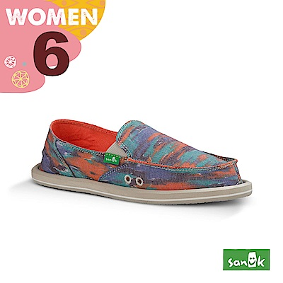 SANUK 女款US6 經典編織圖騰懶人鞋(藍橘色)