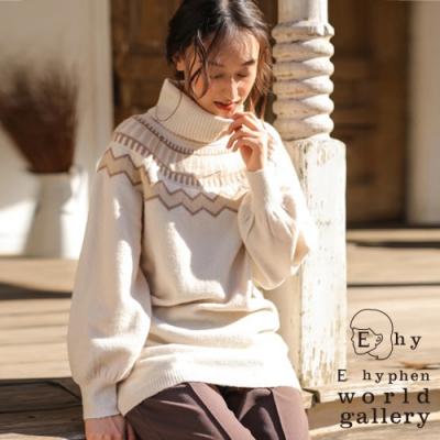 E hyphen 幾何圖案高領針織上衣