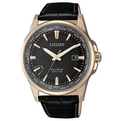 CITIZEN GENT S光動能世界時間皮革腕錶-黑X玫瑰金(BX1008-12E)