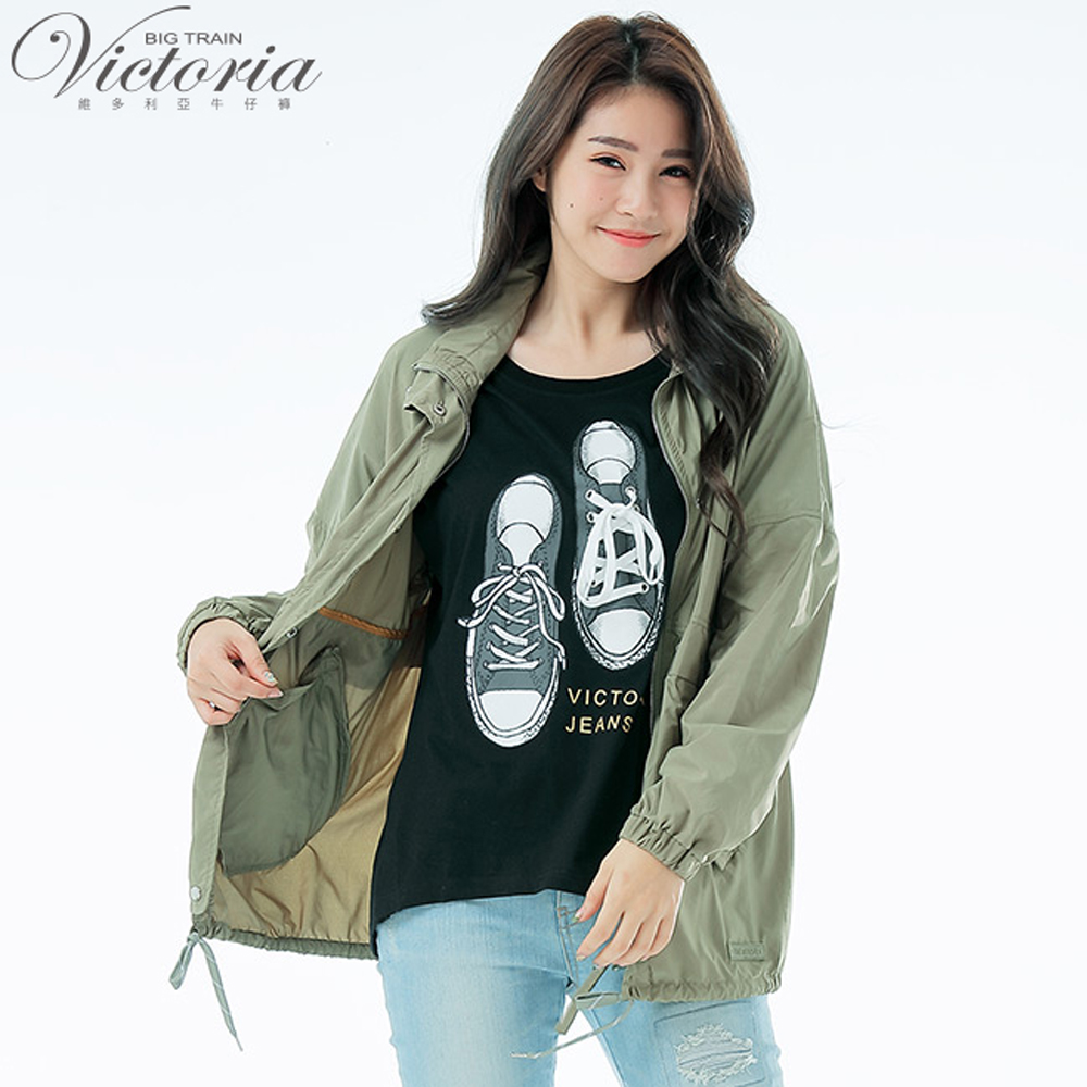 Victoria隱藏帽抗UV休閒防風外套-女-草綠