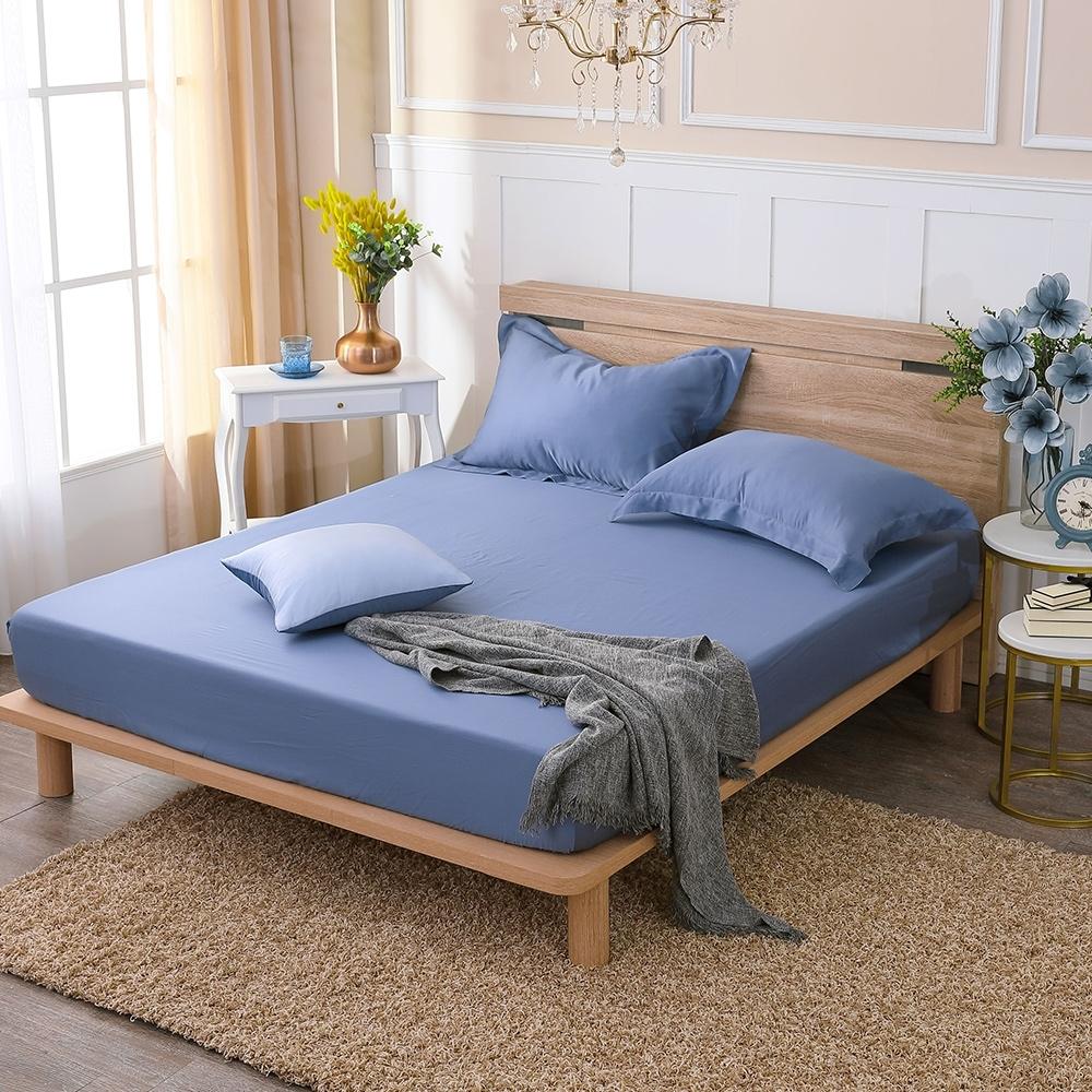 鴻宇 雙人床包組 天絲300織 波納藍 台灣製