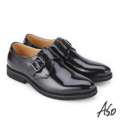 A.S.O 3D超動能 扣帶小牛皮奈米紳士鞋 黑
