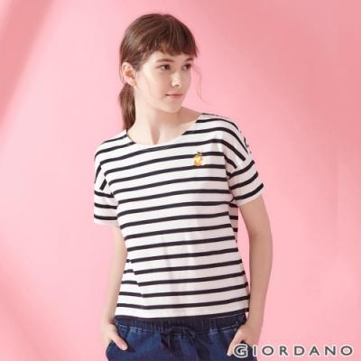 GIORDANO 女裝純棉動物刺繡寬版落肩T恤-91 皎雪/標誌黑