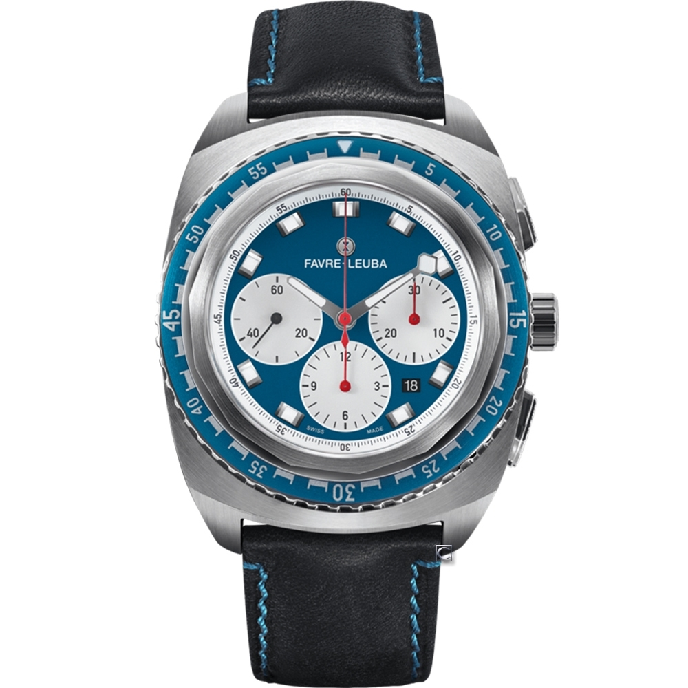 Favre-Leuba域峰表RAIDER系列SEA SKY腕錶-藍x黑皮/44mm
