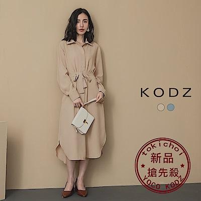 東京著衣-KODZ 浪漫春意附綁帶下擺圓弧排釦襯衫洋裝(共二色)