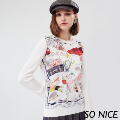 SO NICE優雅奢侈品印花針織上衣