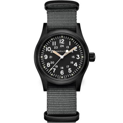 Hamilton漢米爾頓卡其野戰系列軍事機械腕錶-黑灰/38mm