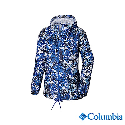 Columbia 哥倫比亞 女款-防潑水風衣-藍色花紋 UKR30130TY