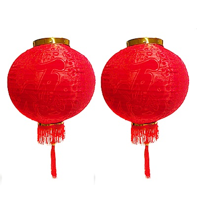 摩達客 農曆春節元宵-16吋植絨魚福紅燈籠(一組兩入)