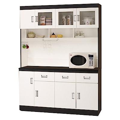 綠活居 凱沃5尺餐櫃/收納櫃組合(上+下座)-149.1x44.4x199.2cm-免組