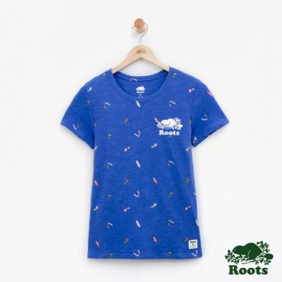 女裝Roots 衝浪滿版印花短袖T恤-藍